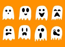 2018 Black and White ghosts for Halloween Celebration vector illustration