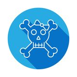 Black and white cute girl skull with a bow icon with long shadow. royalty free illustration