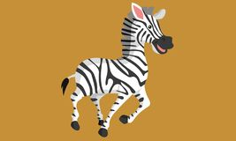 Black and white cute laughing zebra art vector illustration