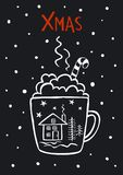 Black and white cute merry christmas xmas winter, new years greeting card vector illustration