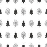 Black and white cute winter trees seamless pattern. Simple nature background. Vector design for winter holidays. Print for textile, wallpaper, wrapping paper Royalty Free Stock Image