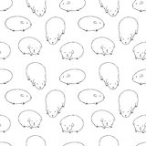 Black and White Cute Zoo Seamless Pattern Stock Image