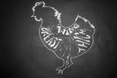 Black and white cutting scheme chicken. Horizontal frame royalty free stock image