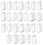 Black and white 3d font made with thin lines. Royalty Free Stock Photos