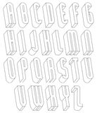 Black and white 3d font made with thin lines. Black and white 3d font made with thin lines, single color simple tall letters alphabet, best for use in web Stock Photography