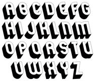 Black and white 3d font. Royalty Free Stock Photography
