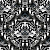 Black white 3d greek key seamless pattern. Abstract greek key vector seamless pattern. Black silver geometric 3d background. Modern wallpaper. Surface endless Stock Image