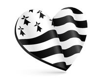 Black and white 3D heart shape with flag of Brittany inside Stock Image
