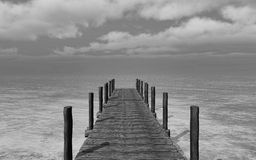 Black and white 3D image of a jetty landscape. 3D render of a black and white image of a jetty going into the sea Stock Photo