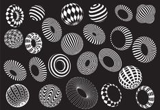 Black and white 3d shapes vector set. Logo Stock Image