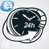 Black and white 3d vector 24 hours timer, around-the-clock picto. Gram. Time idea dimensional symbol. Twenty-four hours a day conceptual stylized icon. Business Stock Images