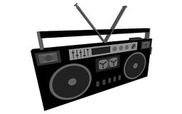 Black and white 3d, volumetric, musical, retro, hipster, antique, old, antique, cassette audio recorder, music center from the 80. `s, 90`s on a white background Royalty Free Stock Images