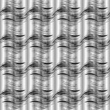 Black and white 3d wavy lines seamless pattern. Vector silver dr. Apery background, wallpaper. Abstract doodle waves, lines, stripes. Modern ornaments. Surface stock illustration