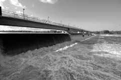 Black and White Dam. A wide-angle shot of the Coon Rapids Dam on the Mississippi River in Minnesota Royalty Free Stock Photo