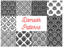 Black and white damask floral patterns set vector illustration