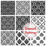Black and white damask floral seamless pattern vector illustration