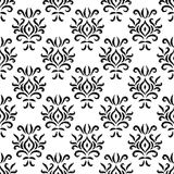 Black and white damask ikat ornament geometric floral seamless pattern, vector stock illustration