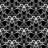 Black and white damask ornaments. Swirls vintage floral seamless pattern. Black white damask background. Hand drawn swirl lines, flowers, leaves. Elegant Stock Photography