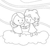 Black and white dancing angels. Illustration in black and white about 2 cute little angel dancing on a cloud up in the sky Royalty Free Stock Photos