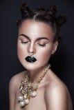 Black and white dark hair beauty woman portrait Stock Photos