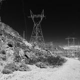 Black and White. Dark Black and White Tower Landscape Stock Photography