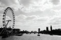 Black&white de paysage de Londoneye image stock