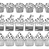 Black and white decorative border of cakes for coloring books. Stock Images