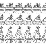 Black and white decorative border of cakes for coloring books. Royalty Free Stock Image