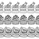 Black and white decorative border of cakes for coloring books. Royalty Free Stock Images