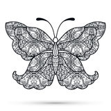 Black and white Decorative butterfly, hand drawn Stock Photos