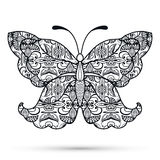 Black and white Decorative butterfly, hand drawn Royalty Free Stock Images