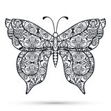 Black and white Decorative butterfly, hand drawn Royalty Free Stock Photo