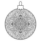 Black and white decorative Christmas ball. Royalty Free Stock Photo