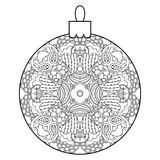 Black and white decorative Christmas ball. Royalty Free Stock Image
