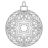 Black and white decorative Christmas ball. Royalty Free Stock Photography