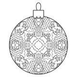 Black and white decorative Christmas ball. Royalty Free Stock Photos