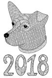Black and white decorative  dog with numbers 2018. Royalty Free Stock Image