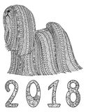 Black and white decorative  dog with numbers 2018. Royalty Free Stock Photo