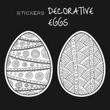 Black, white decorative eggs. Set of stickers on background. Stock Images