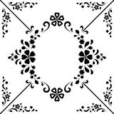 Black and white decorative frame. Black and white background, decorative frame, abstract ornamental floral decor Stock Image