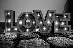Decorative Love Lights in Black and White. Black and White Decorative Love Lights Home Display Royalty Free Stock Photo