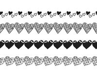 Black and white decorative ornament, pattern, border of hearts. Royalty Free Stock Photography