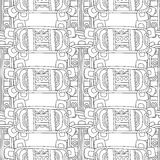 Black and white decorative seamless pattern for coloring book. Royalty Free Stock Photos