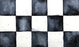Classic chessboard watercolor sketchy backdrop. royalty free stock photo