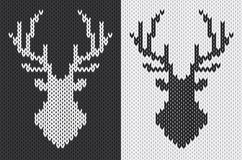 Black and white deer head silhouette knitted pattern. vector illustration