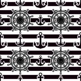 Black and white design background. Anchor and Wheel Vector seamless pattern isolated on striped black background. Male nautical texture decor Vector Illustration