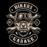 Black and white design of biker patch with the character. Text is on the separate layer royalty free illustration