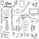 Black and White Design Collection. Happy fathers day Stock Images