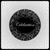 Black and white design. Depicts a geometric pattern on a white background. Curved figure and the word celebration on a black background . Can be used as Royalty Free Stock Images