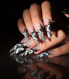 Black and white design nails. Royalty Free Stock Images